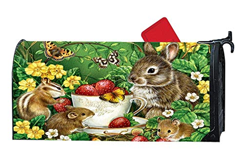 Cute Sweet Easter Critters Cup Saucer Mice Mailbox Makover Cover - Vinyl witn Full Magnetic for Steel/Metal Standard Mailbox, 6.5 x 19 Inches
