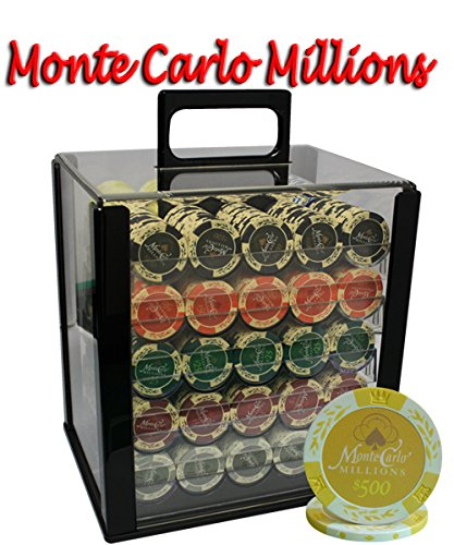 1000pcs 14g Monte Carlo Millions Poker Chips Set with Acrylic Case Custom Build by MRC