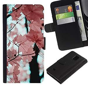 El rosa deja la rama de árbol de arce- la tarjeta de Crédito Slots PU Funda de cuero Monedero caso cubierta de piel Para Samsung Galaxy S5 Mini (Not S5), SM-G800