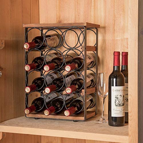 X Cosrack Rustic 12 Bottles Wine Holder Rack Tabletop Wine Racks Countertop Wine Bottles Organizer Stand Tabletop Liquor Storage Shelf Wood Iron 12 60 L X 7 9 W X 17 8 H Kitchen Dining