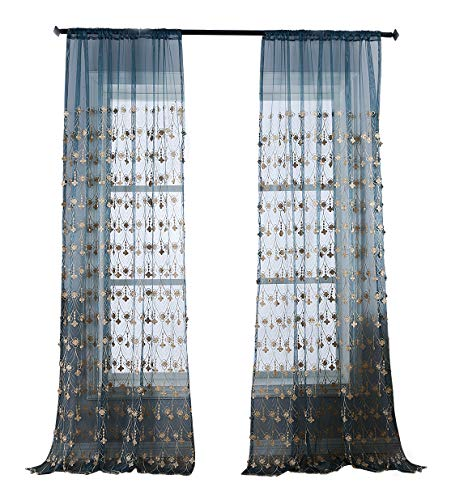 BW0057 Beautiful Sheer Curtain Simple Europern Style 3D Pendant Embroidered Window Decoration for Bedroom Living&Kids Room (1 Panel, W 50 x L 84 inch, Blue) 1300467C1BYGBU15084-8506 (Gold-rosa-grau)
