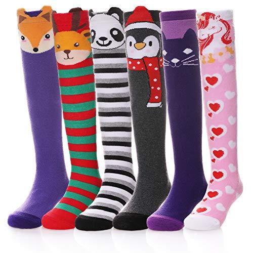 Dosoni Girls Knee High Socks Little Girls Novelty Cartoon Cat Cotton Stockings 6 Pack (6 Pack Unicorn, 3-12 Year Old) -