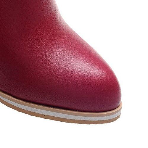 Allhqfashion Para Mujer De Tacones Altos Con Punta Cerrada Pu Low-top Cremallera Sólida Botas, Red-wedge, 36