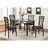 Home Source Industries 4380 Dining Table With Glass Top And 4 Chairs Grey