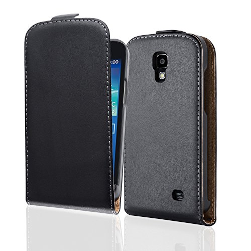 Cadorabo Case works with Samsung Galaxy CORE 4G in CAVIAR BLACK (Design FLIP SMOOTH) – with 2 Card Slots – Case Etui Cover Pouch PU Leather Flip