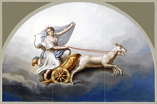 Diana in HER Chariot by Italian School 19th Century Goddess Animal Sky Tile Mural Kitchen Bathroom Wall Backsplash Behind Stove Range Sink Splashback 3x2 4.25