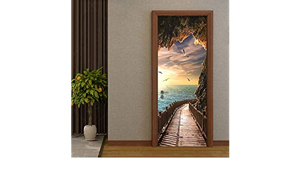 ZHENSI Fondos De Pantalla 3D 3D Wallpaper Beautiful Seaside Landscape Photo Wall Door Mural Living Room Dormitorio Creativo DIY Sticker De La Puerta PVC Vinyl Wallpaper, 190 (H) × 270 (W) Cm:
