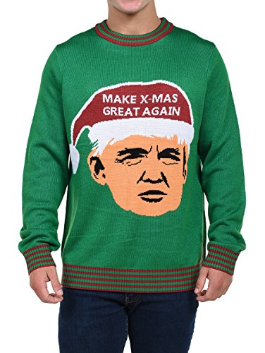 Tipsy Elves Men's Make Christmas Great Again Sweater - Trump Ugly Christmas Sweater
