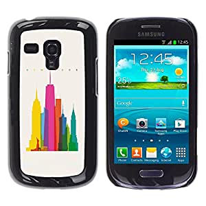 MobileHut / Samsung Galaxy S3 MINI NOT REGULAR! I8190 I8190N / City Colorful Art Skyscrapers Poly Art / Delgado Negro Plástico caso cubierta Shell Armor Funda Case Cover