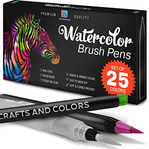- Watercolor Brush Pens Set of 26 - 25 Vibrant Markers with Bonus 1 Refillable Water Brush Pen, Paper Pad and Carry Case - Non-Toxic Safe & Fun Watercolors in Gift Ready Package (26)