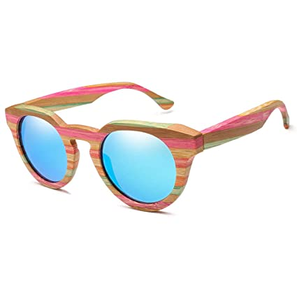 Gafas sol bambú y Madera polarizadas de Marco Redondo Retro Gafas de Moda de Color Unisex