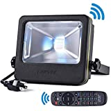LOFTEK Nova S 50W RGB LED Flood Light, Outdoor IP66 Waterproof Explosion-Proof Glass Color Changing Light with Remote Control and US 3-Plug, Wall Washer Light, Black