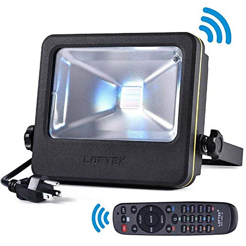 LOFTEK Nova S 50W RGB LED Flood Light, Outdoor IP66 Waterproof Explosion-Proof Glass Color Changing Light with Remote Control and US 3-Plug, Wall Washer Light, Black]()