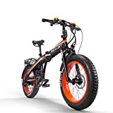 RICH BIT TP016 Electric Fat Bike Mountain Bicycle Snow Bike Cruiser Ebike 500Watt Motor 48V 10Ah Lithium-ion Battery 20'' 4.0 inch Fat Tire Suspension Fork (Orange)