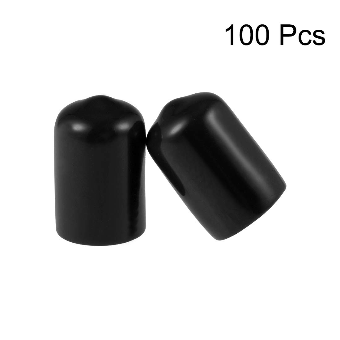 uxcell Screw Thread Protectors 3//8-inch ID Round End Cap Cover Flexible Black Tube Caps 100pcs
