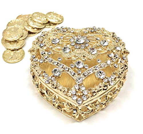 - CB Accessories Wedding Unity Coins - Arras de Boda - Large Heart Shaped Chest Box with Decorative Rhinestone Crystals 14 (Gold)