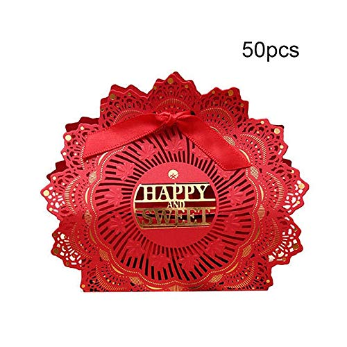 - PatyHoll 50Pcs New Paper Snack Candy Box Hollow Butterfly Design China Style Red Gift Boxes Wedding Favors Cute Personality Chocolate