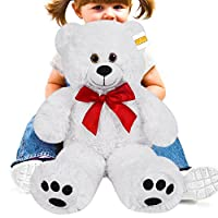 cucunu Teddy Bear Stuffed Plush Animal Large or Giant Size - Toy for Kids & Adults with Big Paw Prints and Eyes - Brown White or Tan – 20, 40, 55, 62 Inch