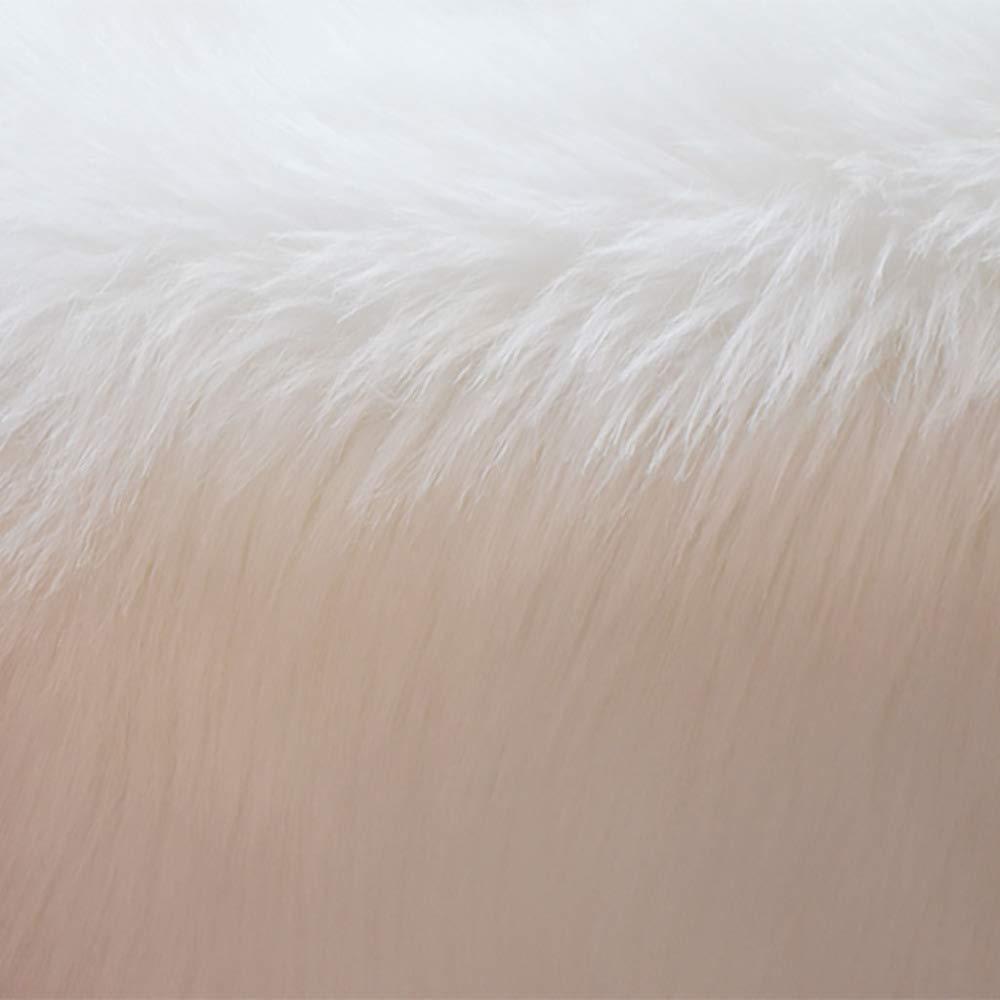 DUANG Kunstpelz Schaffell Teppich Runden Weich Haar Und Seidig Haar Weich 5-6cm Bereich Teppiche Sitz Rutschfeste Matten Für Stuhl Bett Sofa Boden Waschbar,Weiß-110cm 1d98db