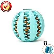 QYES Dog Ball Toy Natural Rubber Dog Chew Ball Interactive Toys 7cm/2.8 Inch Diameter for Training Pet IQ, Pet Finger Toothbrush as FreeGift