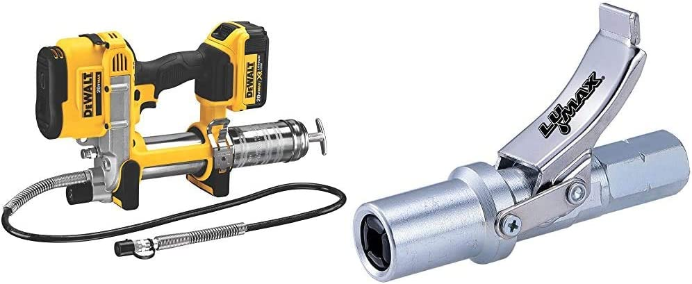 DEWALT 20V MAX Cordless Grease Gun (DCGG571M1),Yellow,V11 Torque & Lumax LX-1403 Silver Heavy-Duty Quick Release Grease Coupler, 1/8