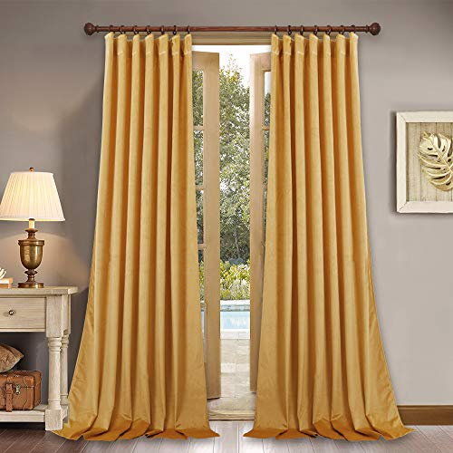 StangH Gold Velvet Curtains for Backdrop – Light Blocking High Ceiling Decorative Drapes with Rod Pocket Back Tab for Hotel Hall, Warm Yellow, W52 x L108-inch, 2 Pcs