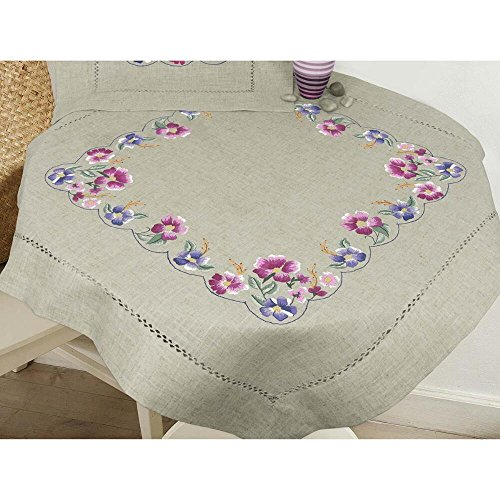 Herrschners® Pink & Lilac Flower Table Topper Stamped Embroidery - Stamped Table Embroidery Topper