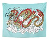 MinnSok Tapestry Artwork Wall Hanging Animal Chinese Dragon in The Sky Surrounded by Clouds on Blue Asian Beast Chine East 60x80 Inches Tapestries Mattress Tablecloth Curtain Home Decor Print