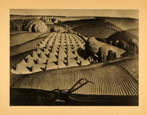 1945 Print Iowa Fall Plowing Agricultural Farming Crops Midwest Grant Wood Art - Original Halftone Print by...
