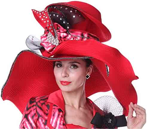 fd467140216 Kueeni Women Summer Hats Wide Brim Big Red Color Diamond Casing For Church  Party