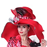 Kueeni Women Summer Hats Wide Brim Big Red Color Diamond Casing for Church Party