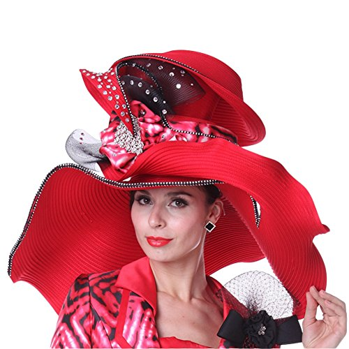 Kueeni Women Summer Hats Wide Brim Big Red Color Diamond Casing for Church Party by Kueeni