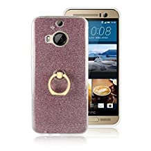 Soft Flexible TPU Back Cover Case Shockproof Protective Shell with Bling Glitter Sparkles and Kickstand for HTC M9 Plus ( Color : Pink )