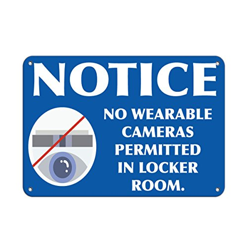 Notice No Wearable Cameras Permitted In Locker Room. LABEL DECAL STICKER Sticks to Any Surface 10x7