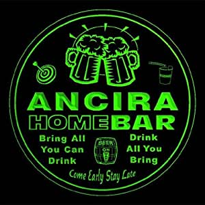 4x ccq00894-g ANCIRA Family Name Home Bar Pub Beer Club Gift 3D Engraved Coasters
