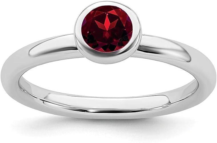 Citrine,/&Pink topaz RingSize:9 Ladies 18k white gold Ring with Round Red Garnet