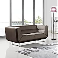 US Pride Furniture Sarah Collection Modern Fabric Upholstered Loveseat With Chrome Leg Finish Brown