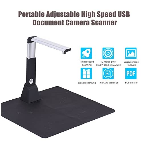 Aibecy Portable Document Camera Scanner High Speed 10 Mega Pixel Hd High Definition Max A3 Scanning Size With Ocr Function Led Light For Classroom