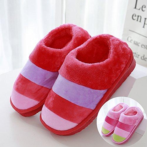 LaxBaAbsorption de choc mou et perméable à lintérieur dhiver Chambre pantoufles pour hommes et femmes Rose Rouge + 42-43