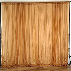 BalsaCircle 10 feet x 10 feet Gold Sheer Voile Backdrop Drapes Curtains - Wedding Ceremony Party Home Decorations