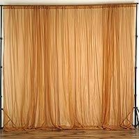 BalsaCircle 10 feet x 10 feet Sheer Voile Backdrop Drapes Curtains Panels - Gold