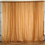 64 panel curtain - BalsaCircle 10 feet x 10 feet Gold Sheer Voile Backdrop Drapes Curtains - Wedding Ceremony Party Home Decorations