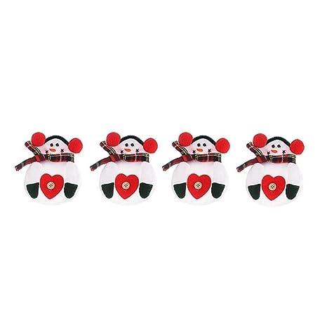 Primi 4 pcs rojo corazón cubiertos tenedores bolsa decoración de la mesa de Navidad muñeco de