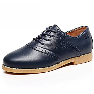 Shenn Boy's Kids Dress Uniform Brogue School Suede Leather Oxfords Shoes SN358(Dark Blue2,Little Kid US3)