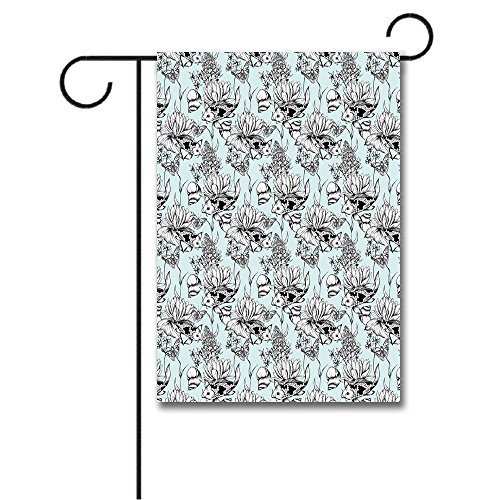 Wondertify Garden Flags Shabby Chic Vintage Monochrome Pond Water Flowers Lily Carp Snail Twigs Double Sided House Decoration Polyester Garden Flag 18 X 27 (Monochrome Twigs)