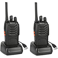Baofeng BF-88A FRS Radio Two Way Radio (Upgrade Version of BF-888S) 16 Channels Handheld Radio, Rechargeable Batteries and USB Charger, 2pcs Radio