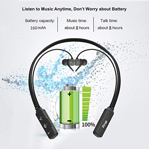 pTron Tangent Evo 8 Hours Music Time, Magnetic in-Ear Wireless Bluetooth Headphones with Mic – (Black and Grey)