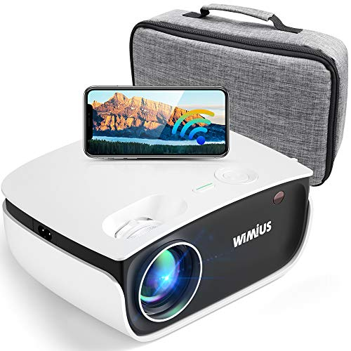 Wifi Bluetooth Projector, WiMiUS S25 6000L HD Mini Outdoor Movie Projector, Portable Phone Projector w/ Wireless…