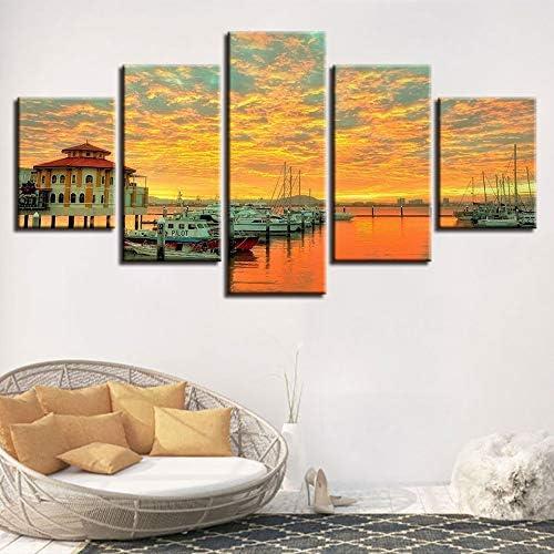 mmwin Impresión HD Cartel Modular s 5 Piezas Barco y casa Puesta de Sol Hermoso Paisaje Lienzo Pintura Arte Decoración Imagen de la Pared: Amazon.es: Hogar