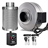 iPower 4 inch 206 CFM Inline Fan Carbon Filter Combo Variable Speed Controller 8 Feet Rope Hanger Grow Tent Ventilation